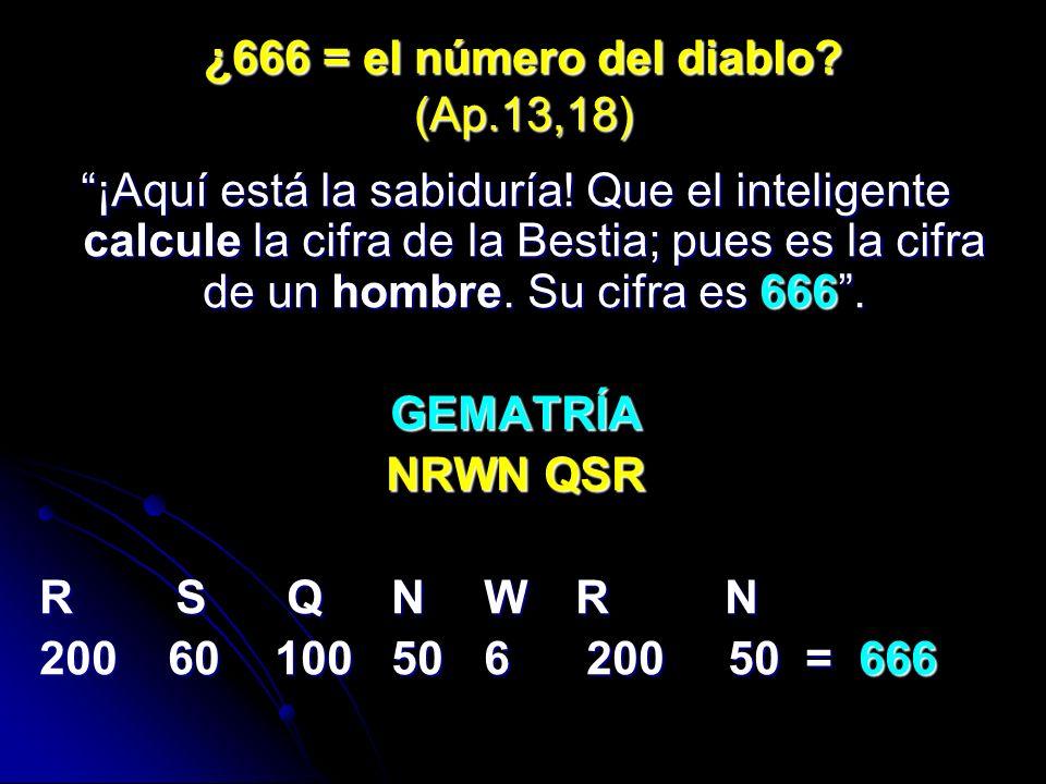 ¿666 = el número del diablo (Ap.13,18)