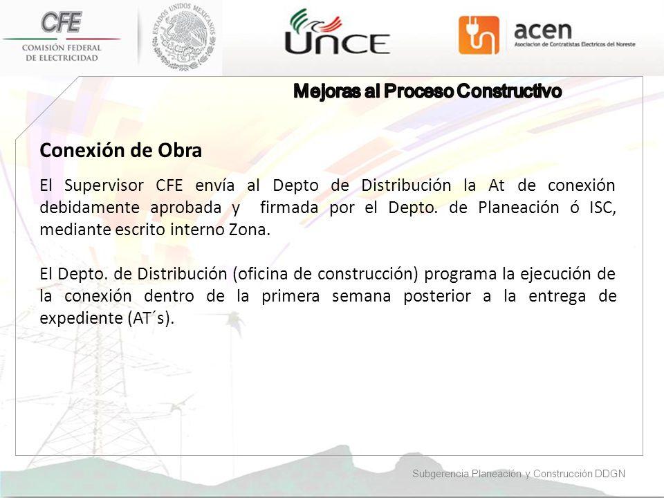 Conexión de Obra Mejoras al Proceso Constructivo