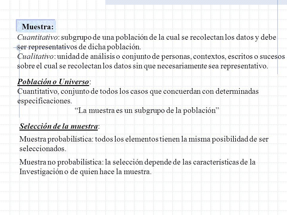 Muestra: Cuantitativo: subgrupo de una población de la cual se recolectan los datos y debe. ser representativos de dicha población.