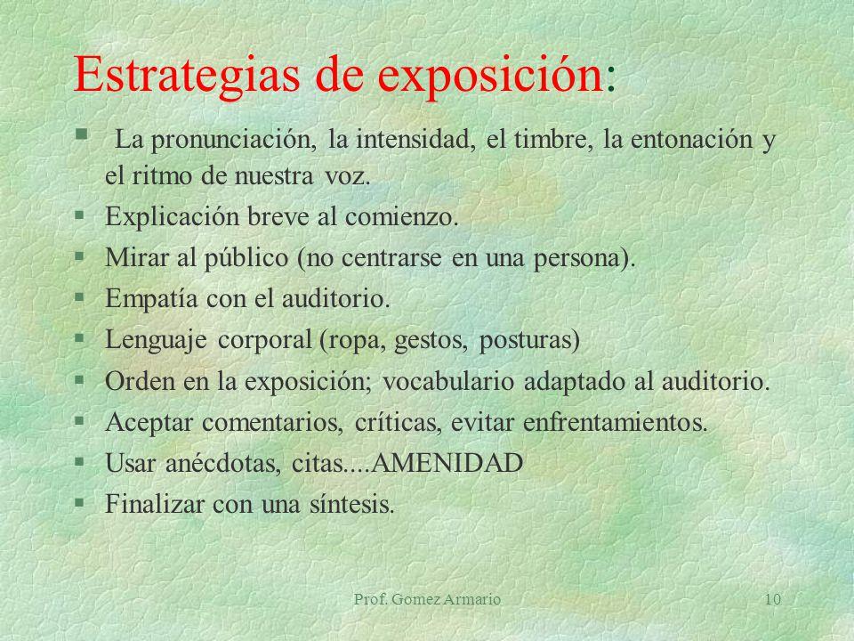 Estrategias de exposición: