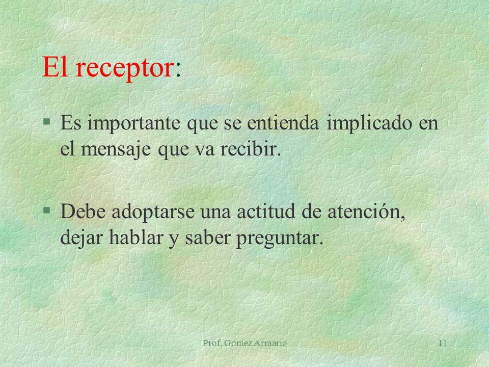El receptor: Es importante que se entienda implicado en el mensaje que va recibir.
