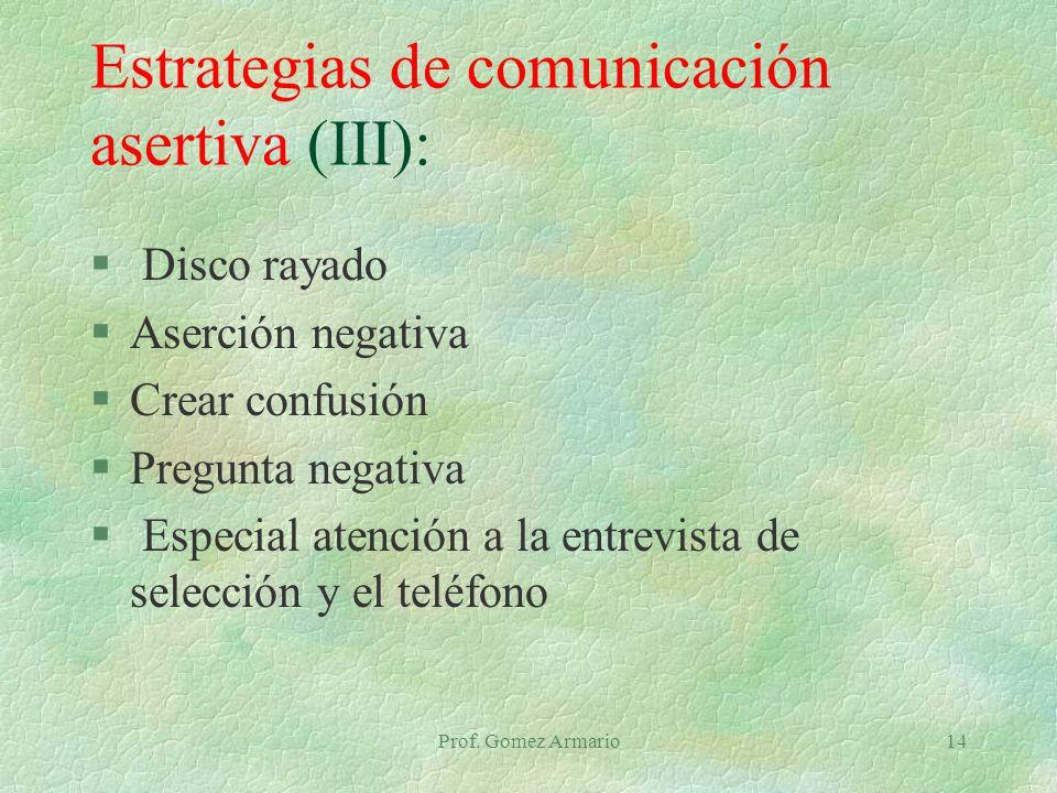 Estrategias de comunicación asertiva (III):