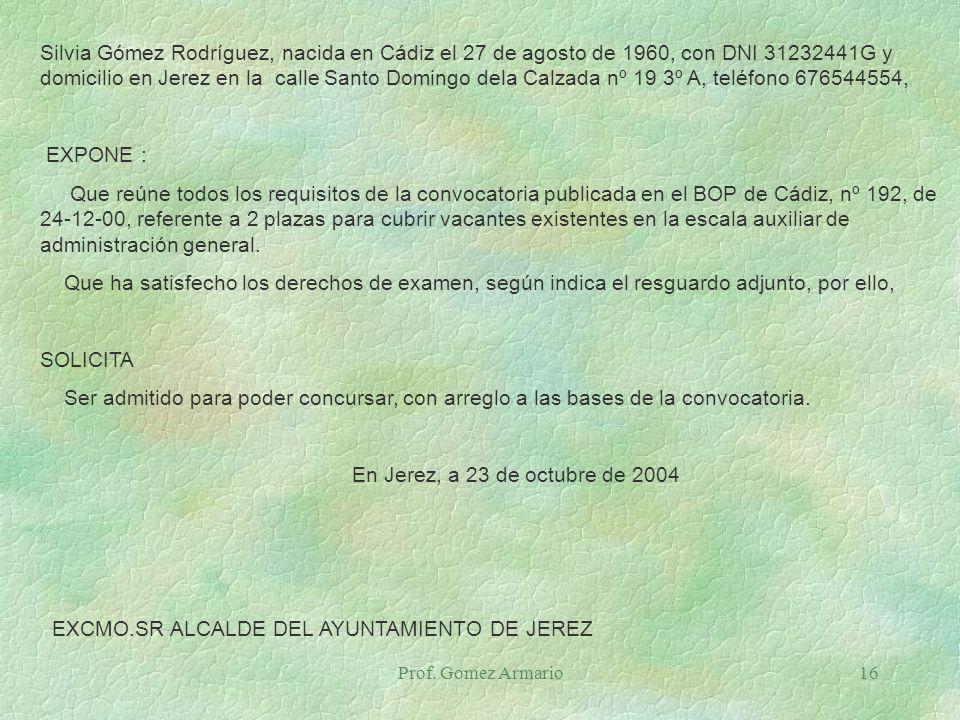 EXCMO.SR ALCALDE DEL AYUNTAMIENTO DE JEREZ