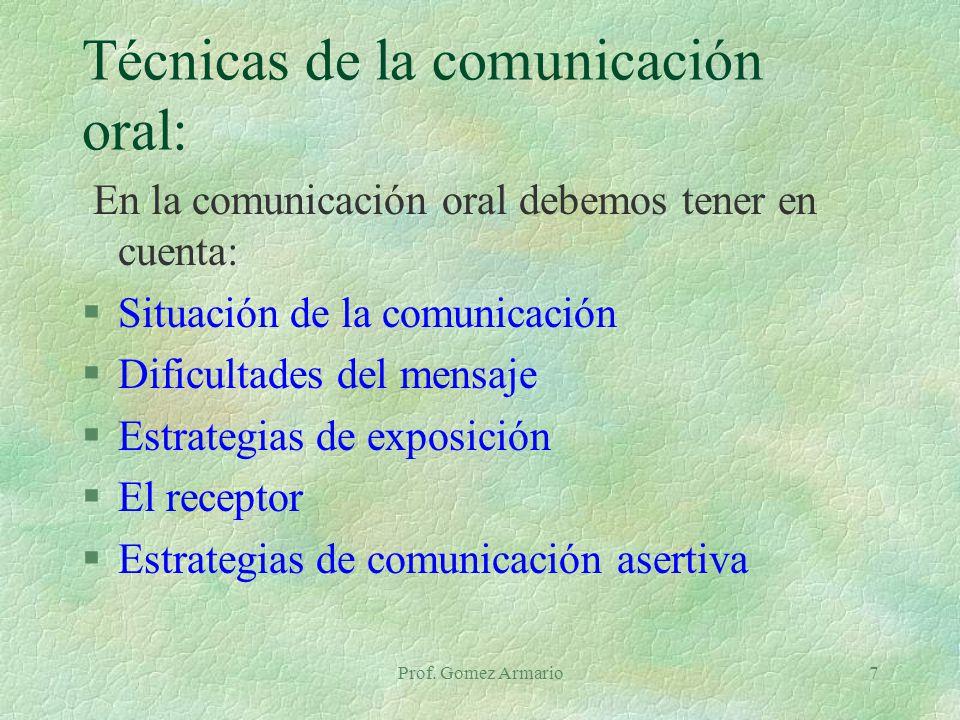 Técnicas de la comunicación oral: