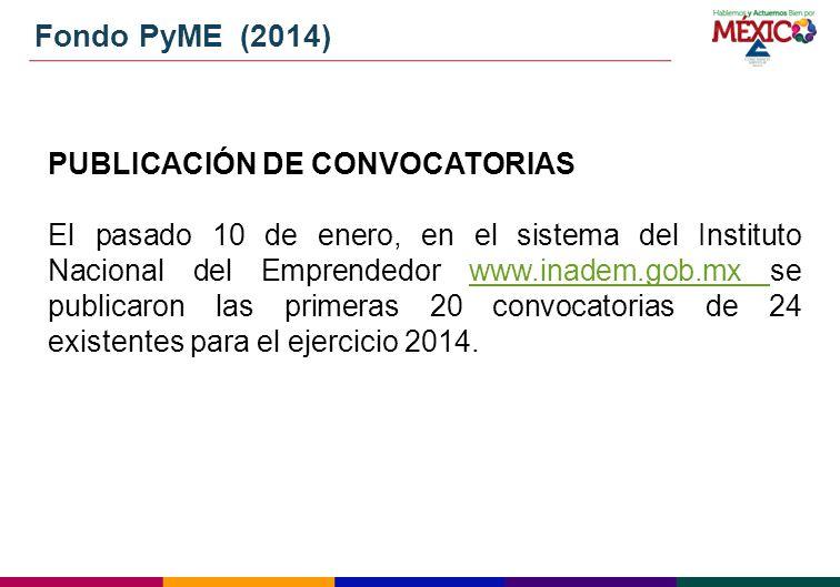 Fondo PyME (2014) PUBLICACIÓN DE CONVOCATORIAS