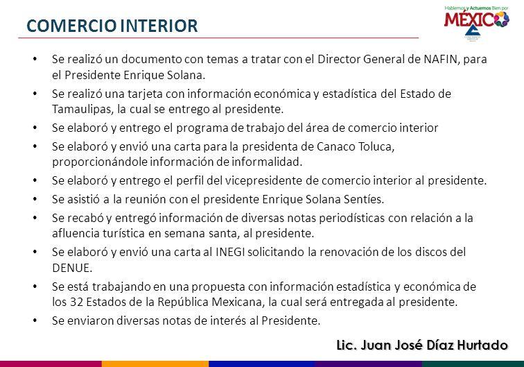 COMERCIO INTERIOR Se realizó un documento con temas a tratar con el Director General de NAFIN, para el Presidente Enrique Solana.