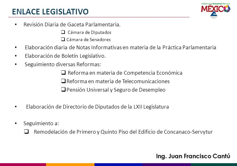 ENLACE LEGISLATIVO Revisión Diaria de Gaceta Parlamentaria.