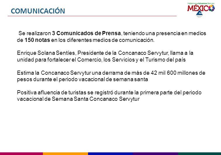 COMUNICACIÓN Se realizaron 3 Comunicados de Prensa, teniendo una presencia en medios de 150 notas en los diferentes medios de comunicación.