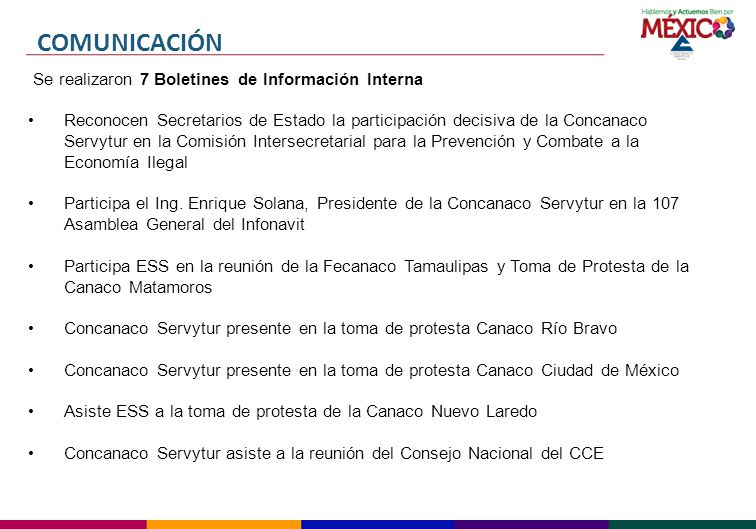 COMUNICACIÓN Se realizaron 7 Boletines de Información Interna