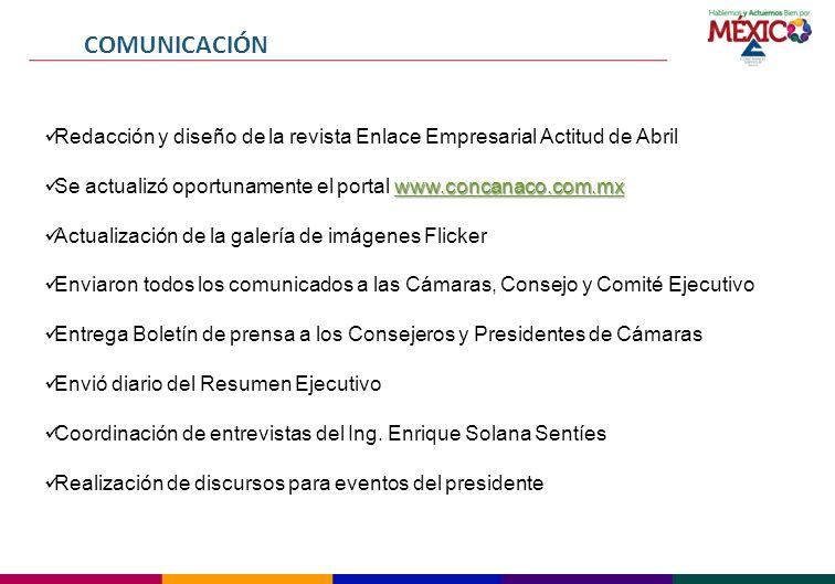 COMUNICACIÓN Redacción y diseño de la revista Enlace Empresarial Actitud de Abril. Se actualizó oportunamente el portal www.concanaco.com.mx.