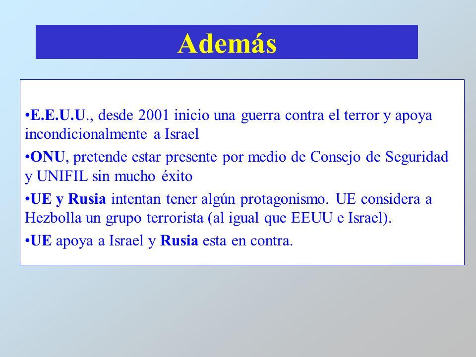 Además E.E.U.U., desde 2001 inicio una guerra contra el terror y apoya incondicionalmente a Israel.