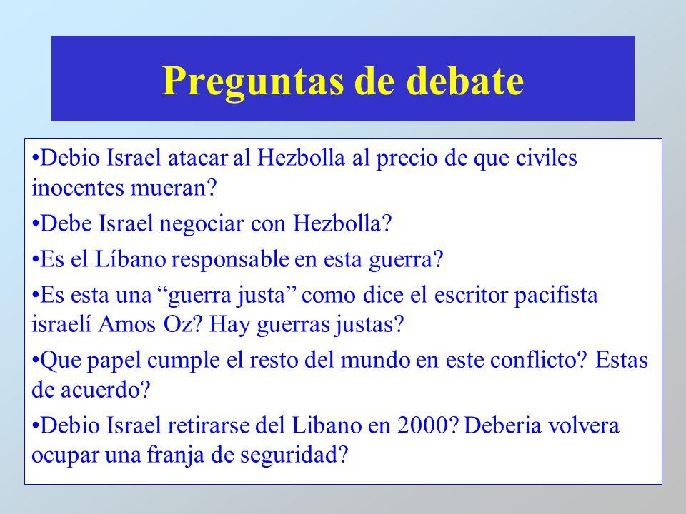 Preguntas de debate Debio Israel atacar al Hezbolla al precio de que civiles inocentes mueran Debe Israel negociar con Hezbolla