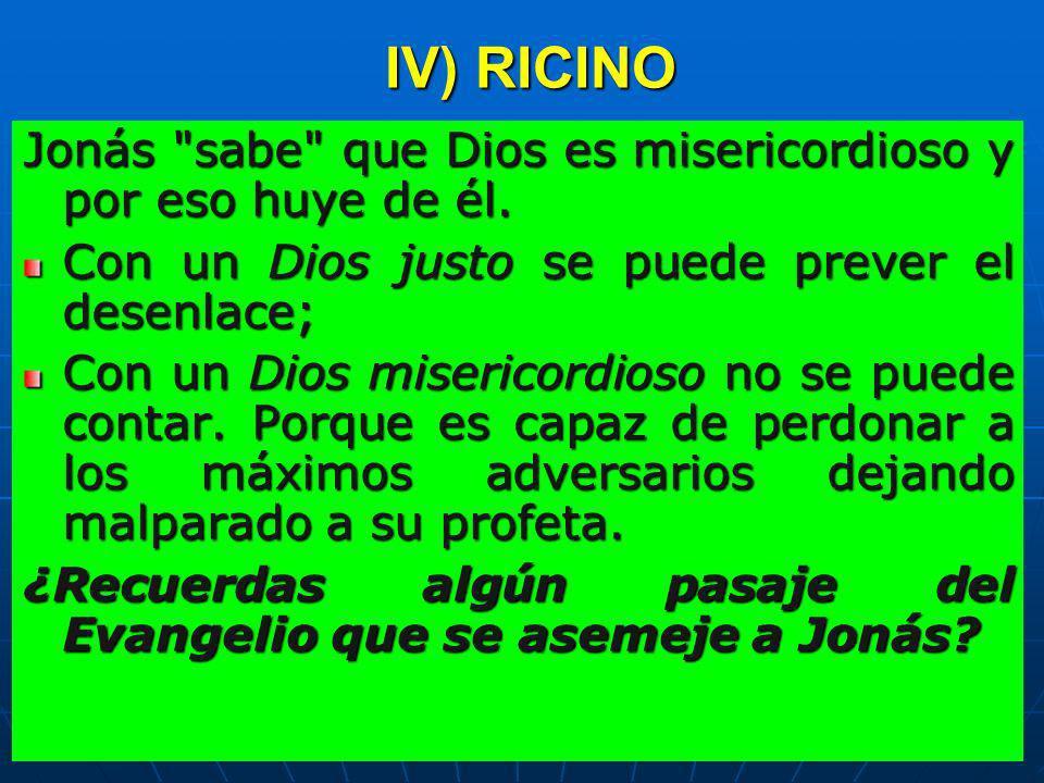 IV) RICINOJonás sabe que Dios es misericordioso y por eso huye de él. Con un Dios justo se puede prever el desenlace;