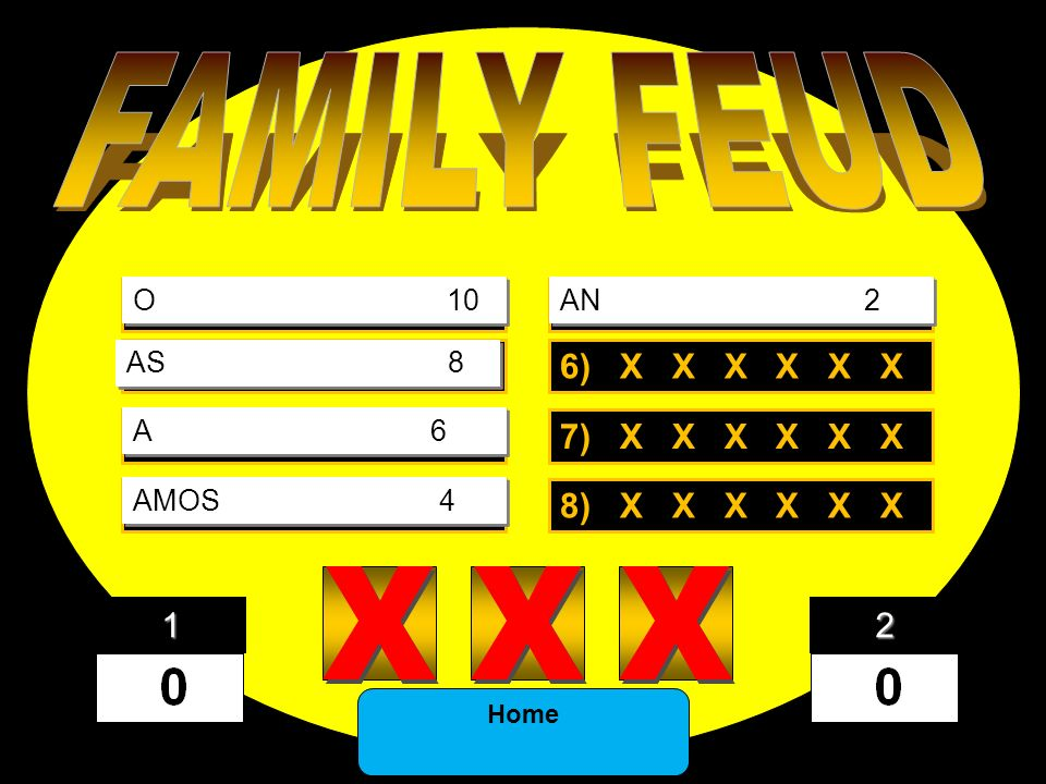FAMILY FEUD X X X 1) X X X X X X 5) X X X X X X 2) X X X X X X