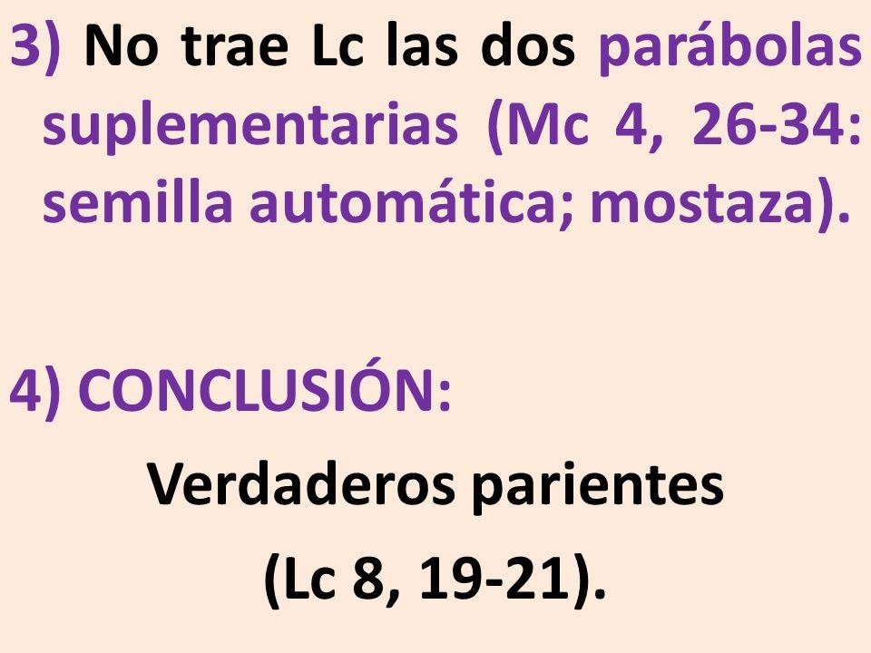 3) No trae Lc las dos parábolas suplementarias (Mc 4, 26-34: semilla automática; mostaza).