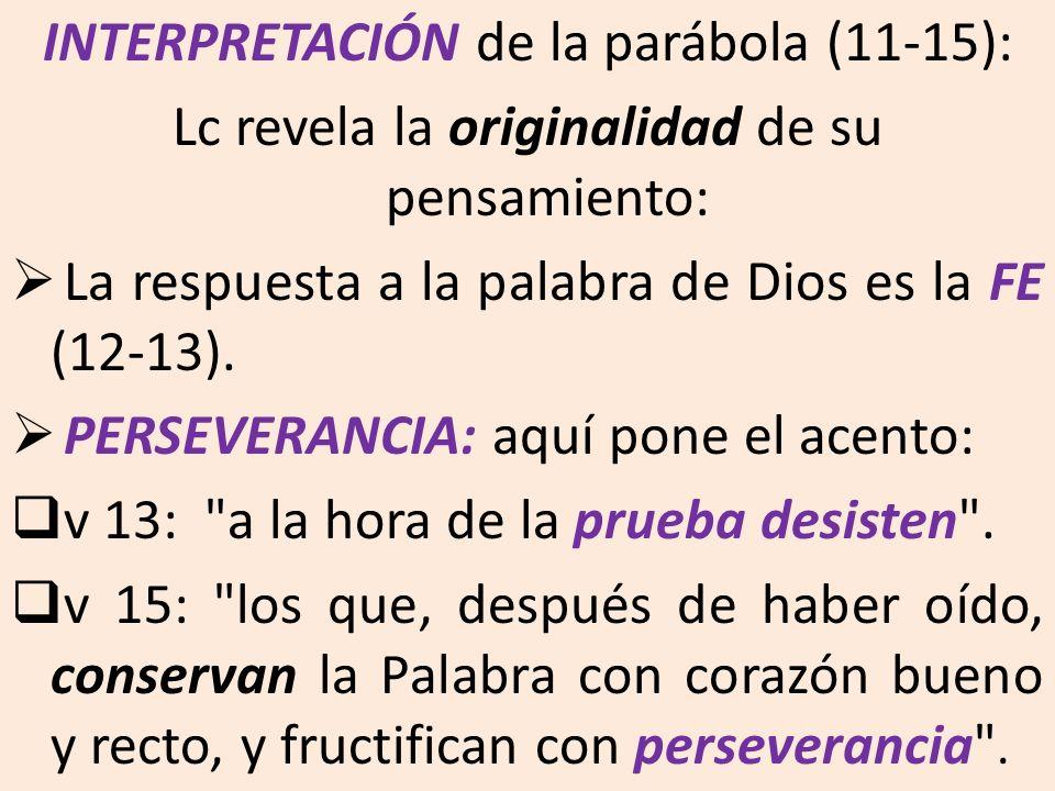 INTERPRETACIÓN de la parábola (11-15):