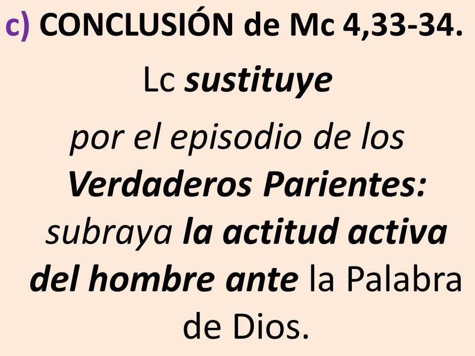 c) CONCLUSIÓN de Mc 4,33-34.Lc sustituye.