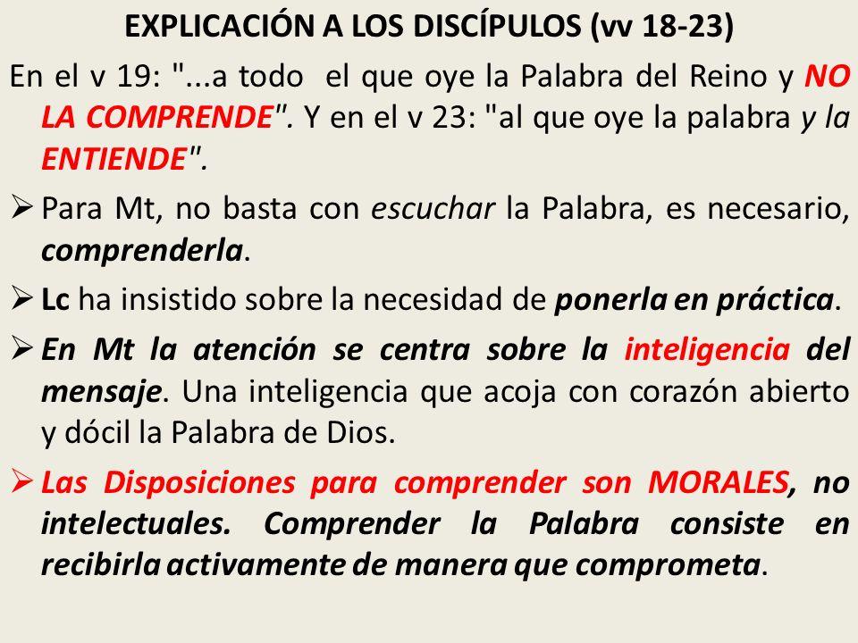 EXPLICACIÓN A LOS DISCÍPULOS (vv 18-23)