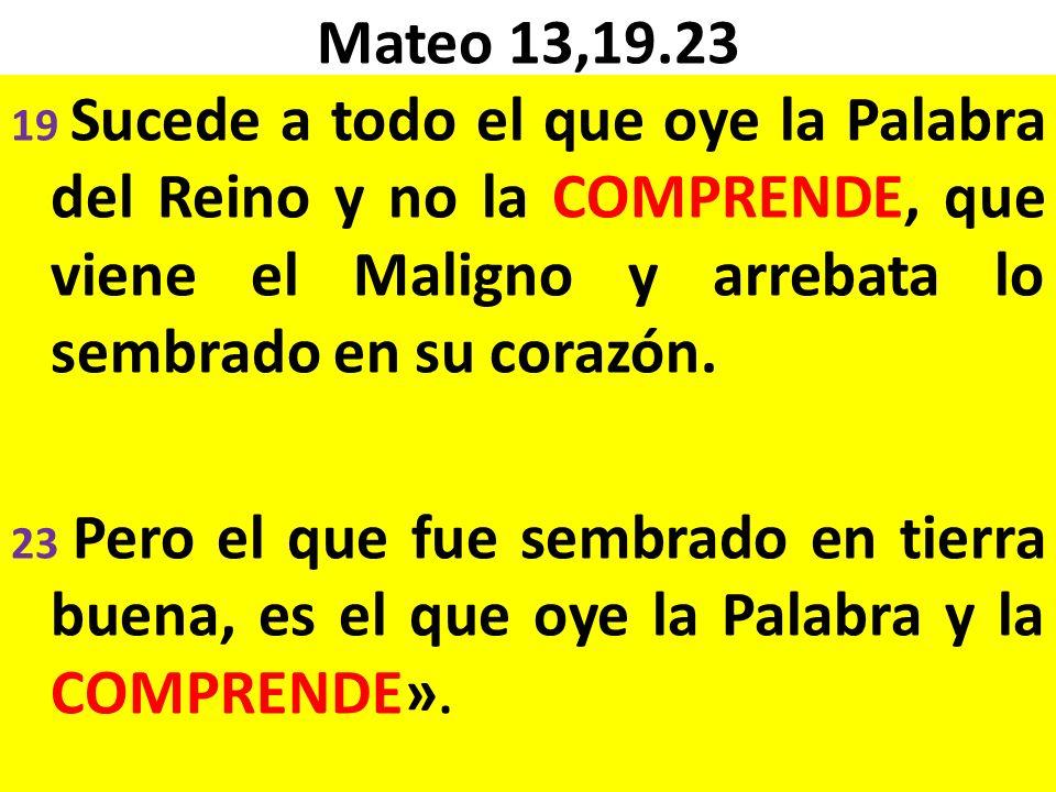 Mateo 13,19.23 19 Sucede a todo el que oye la Palabra del Reino y no la COMPRENDE, que viene el Maligno y arrebata lo sembrado en su corazón.