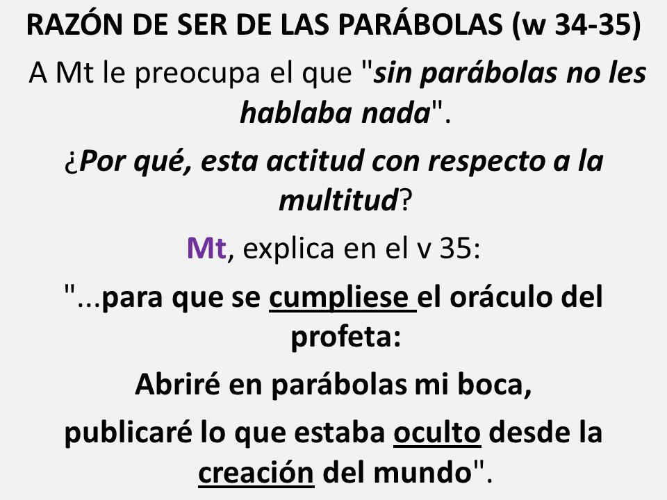 RAZÓN DE SER DE LAS PARÁBOLAS (w 34-35) A Mt le preocupa el que sin parábolas no les hablaba nada .