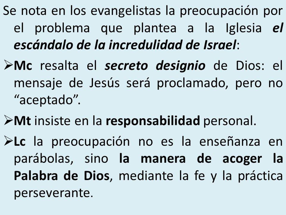 Se nota en los evangelistas la preocupación por el problema que plantea a la Iglesia el escándalo de la incredulidad de Israel: