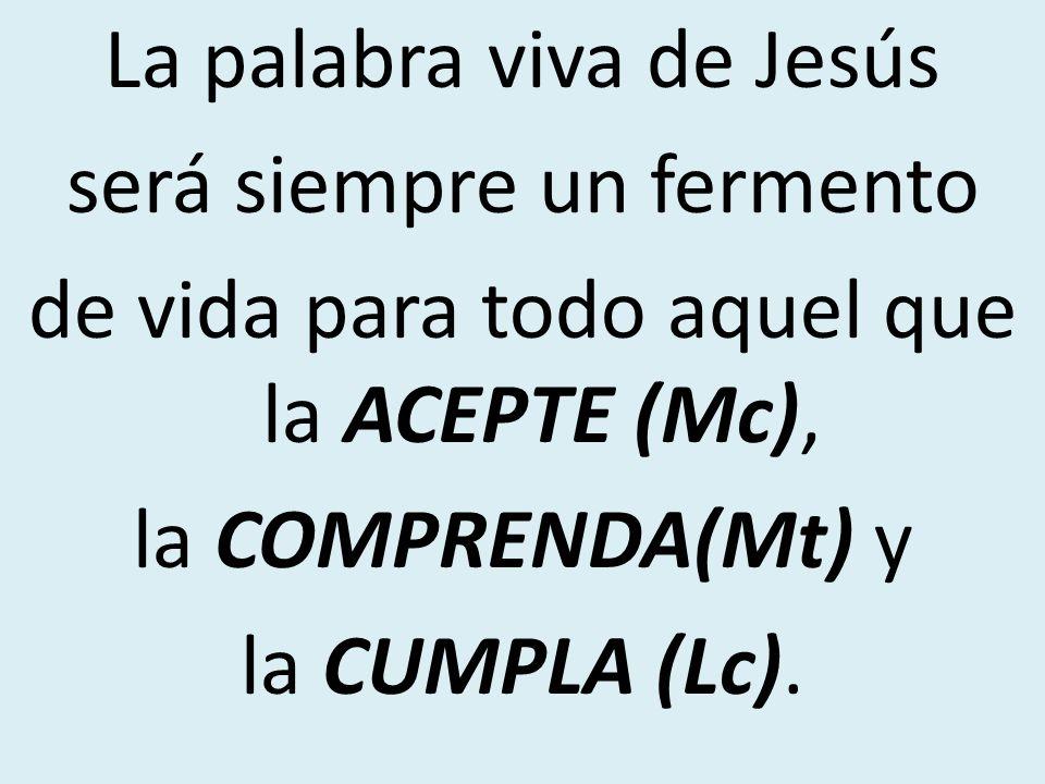 La palabra viva de Jesús será siempre un fermento