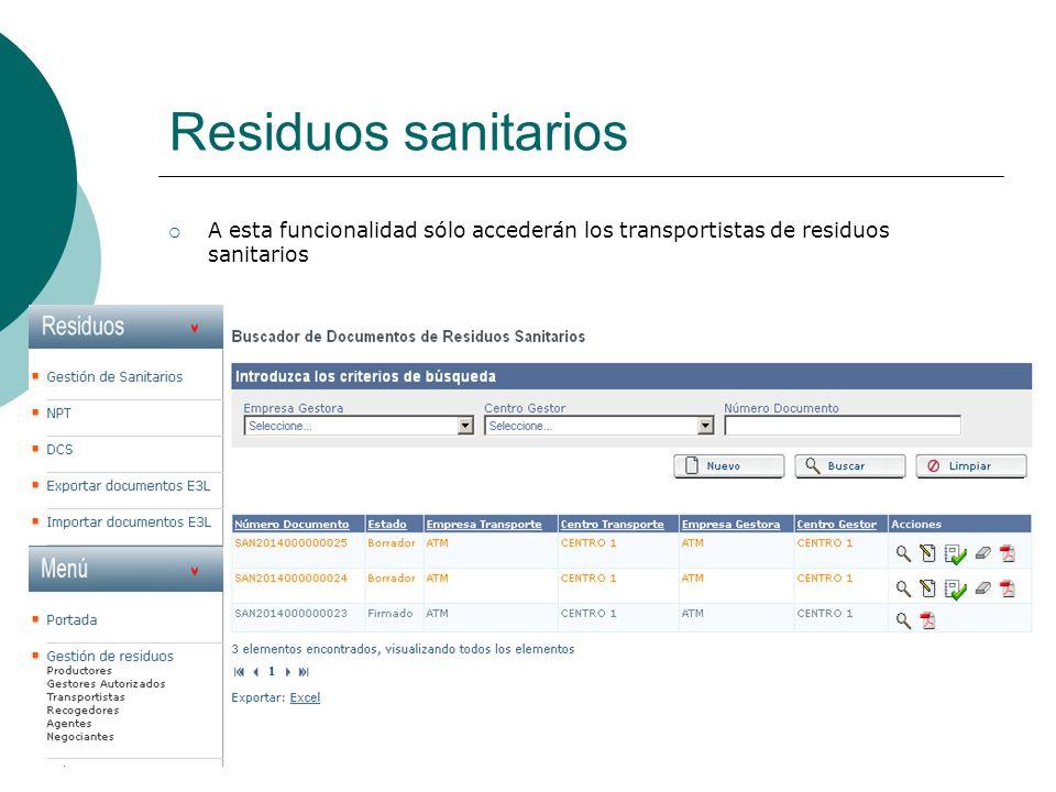 Residuos sanitarios A esta funcionalidad sólo accederán los transportistas de residuos sanitarios