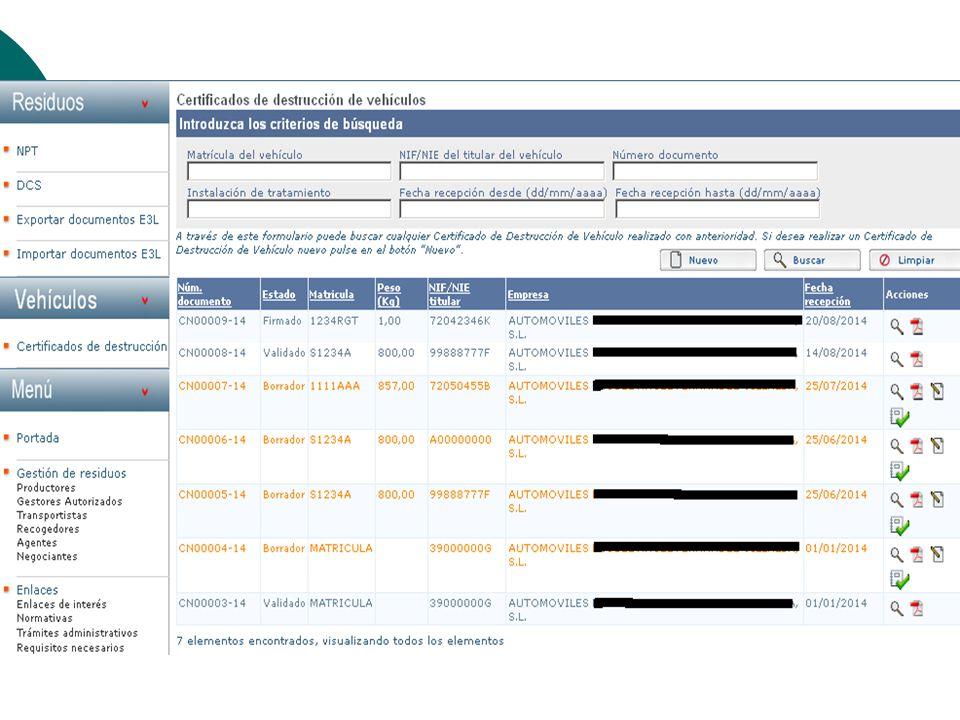 Certificados de destrucción de VFVU