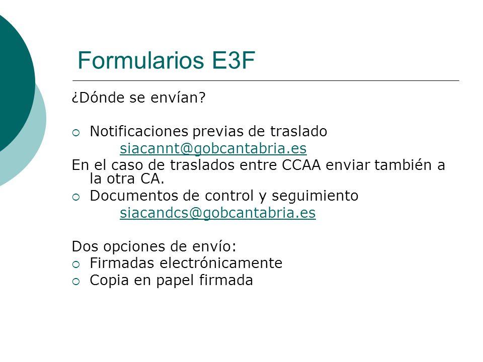 Formularios E3F ¿Dónde se envían Notificaciones previas de traslado