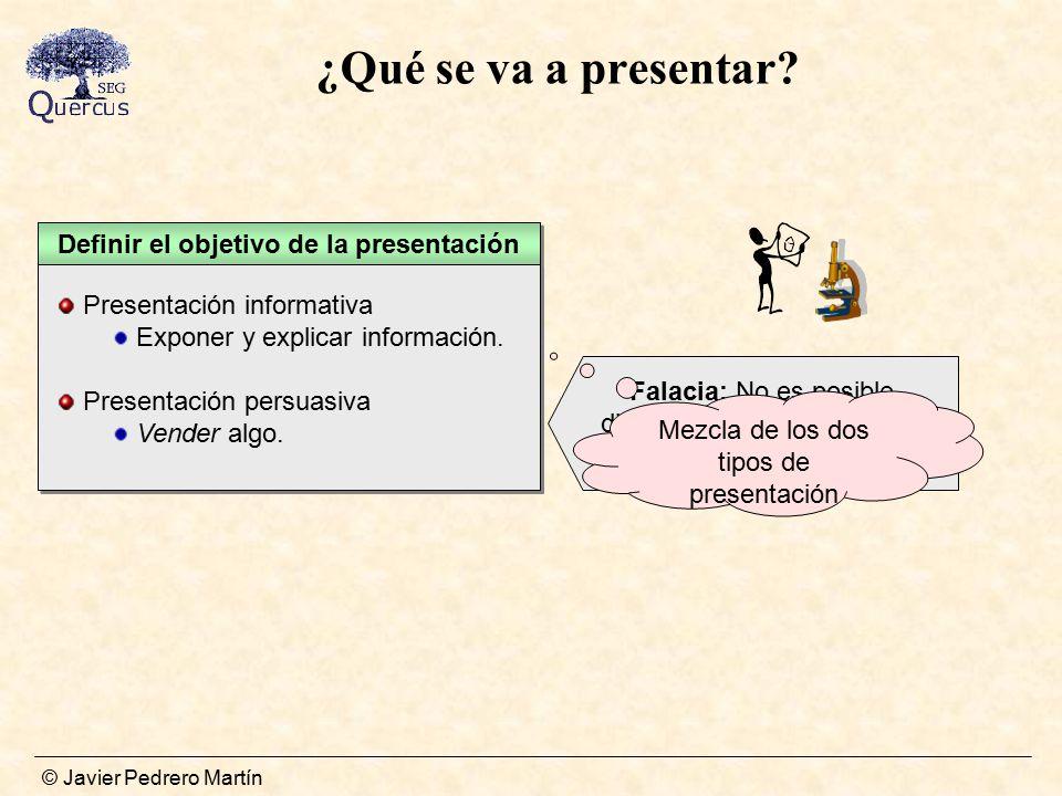 Definir el objetivo de la presentación Conocer que se va a presentar