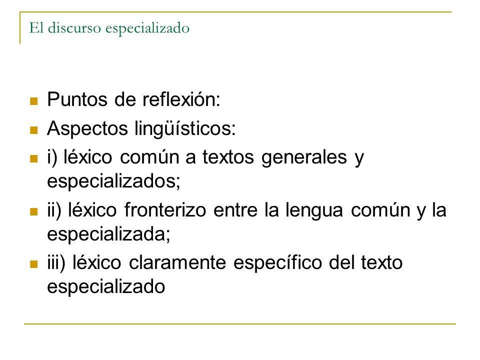 El discurso especializado