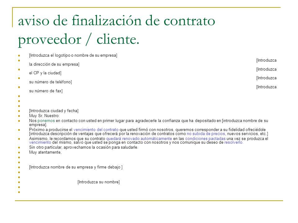 aviso de finalización de contrato proveedor / cliente.