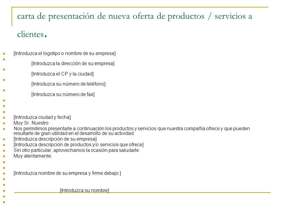 carta de presentación de nueva oferta de productos / servicios a clientes.