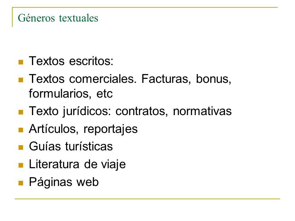 Textos comerciales. Facturas, bonus, formularios, etc