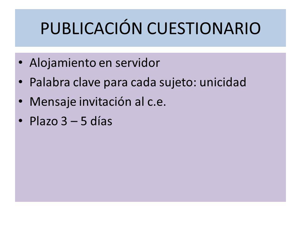 PUBLICACIÓN CUESTIONARIO