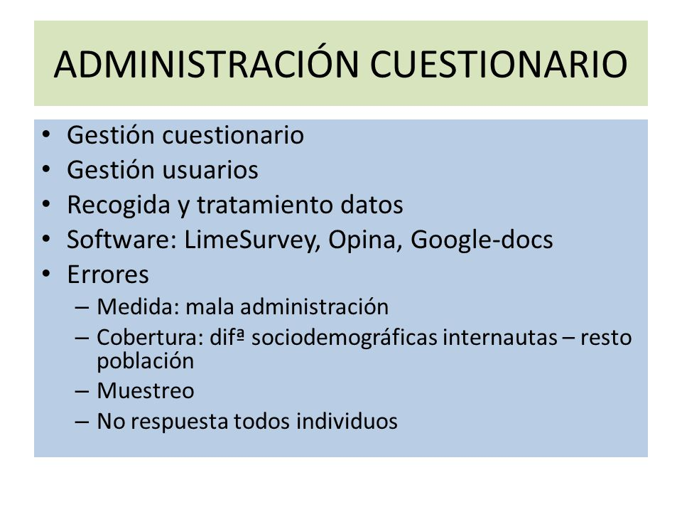 ADMINISTRACIÓN CUESTIONARIO