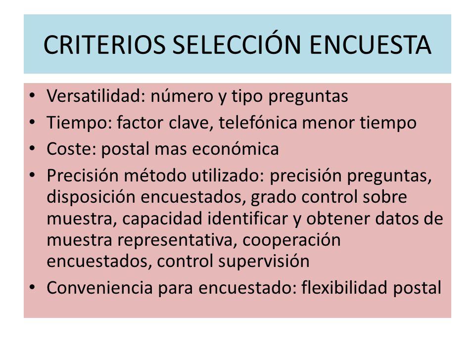 CRITERIOS SELECCIÓN ENCUESTA