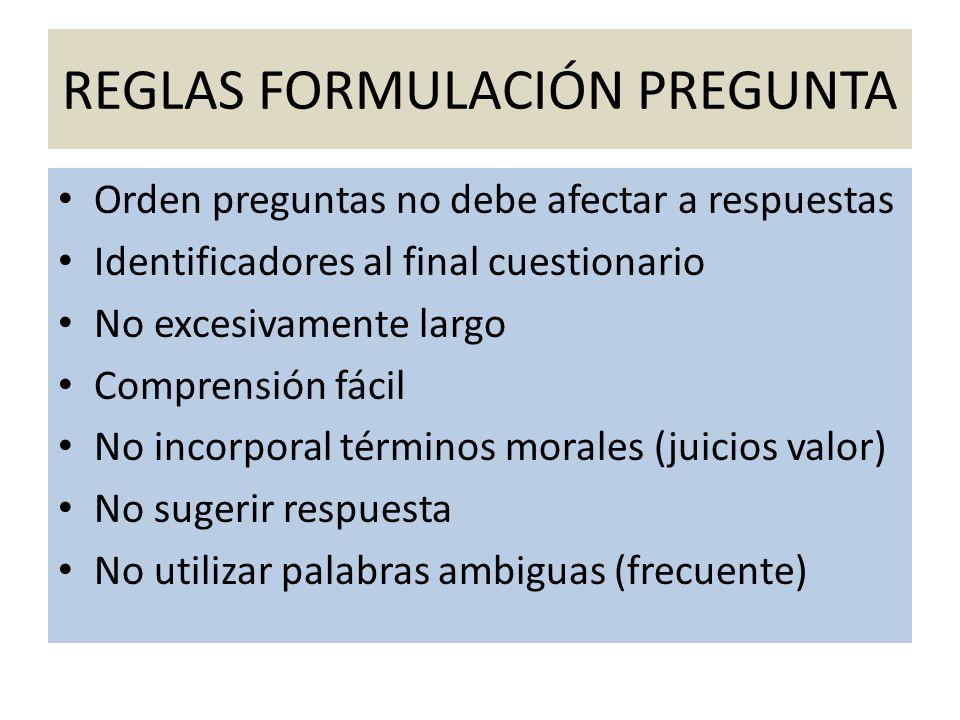 REGLAS FORMULACIÓN PREGUNTA