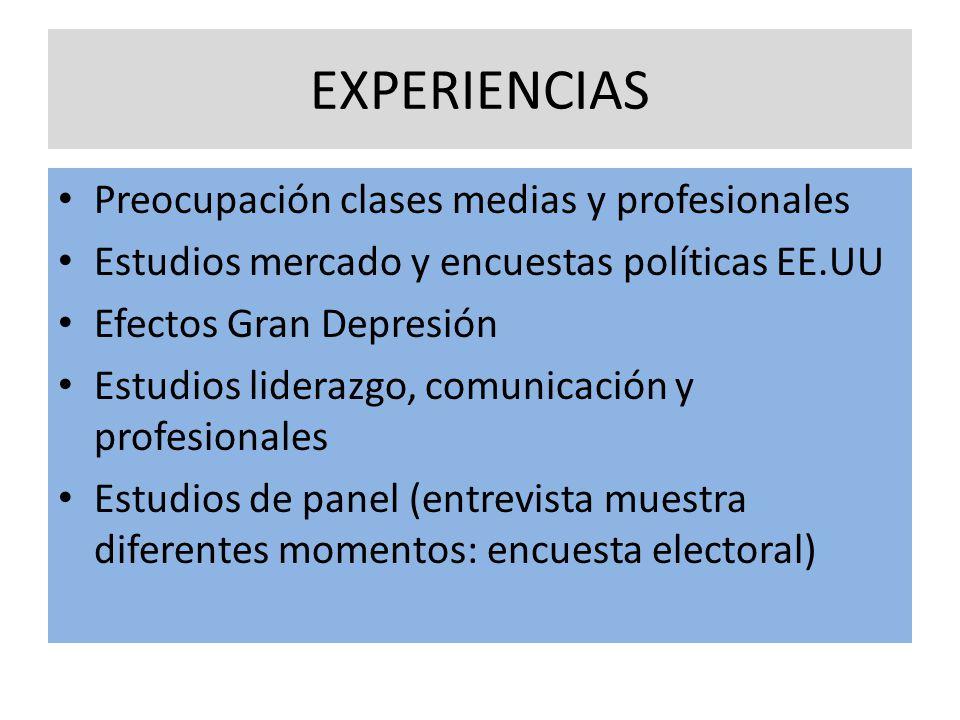EXPERIENCIAS Preocupación clases medias y profesionales