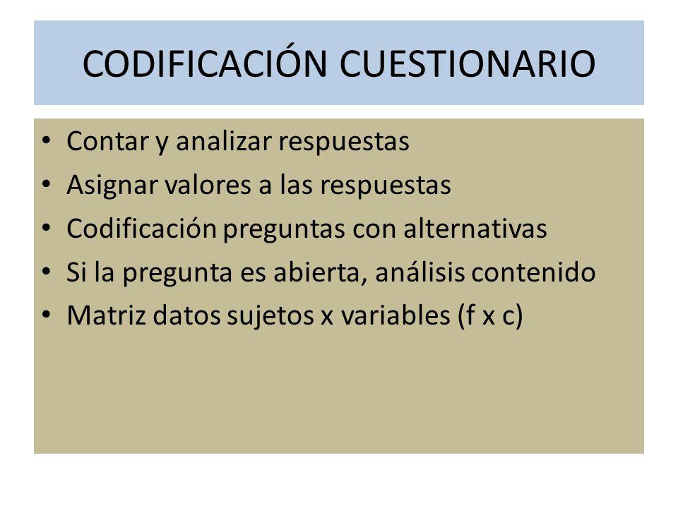 CODIFICACIÓN CUESTIONARIO
