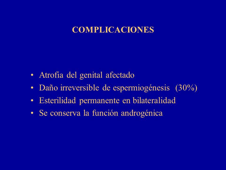 COMPLICACIONES Atrofia del genital afectado. Daño irreversible de espermiogénesis (30%) Esterilidad permanente en bilateralidad.