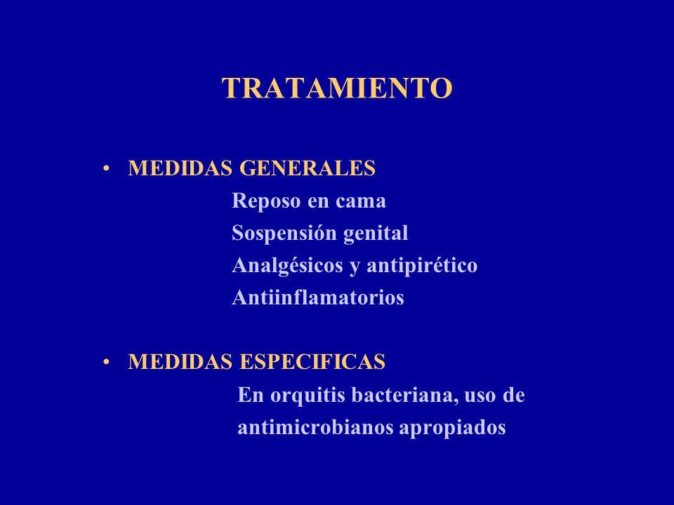 TRATAMIENTO MEDIDAS GENERALES Reposo en cama Sospensión genital