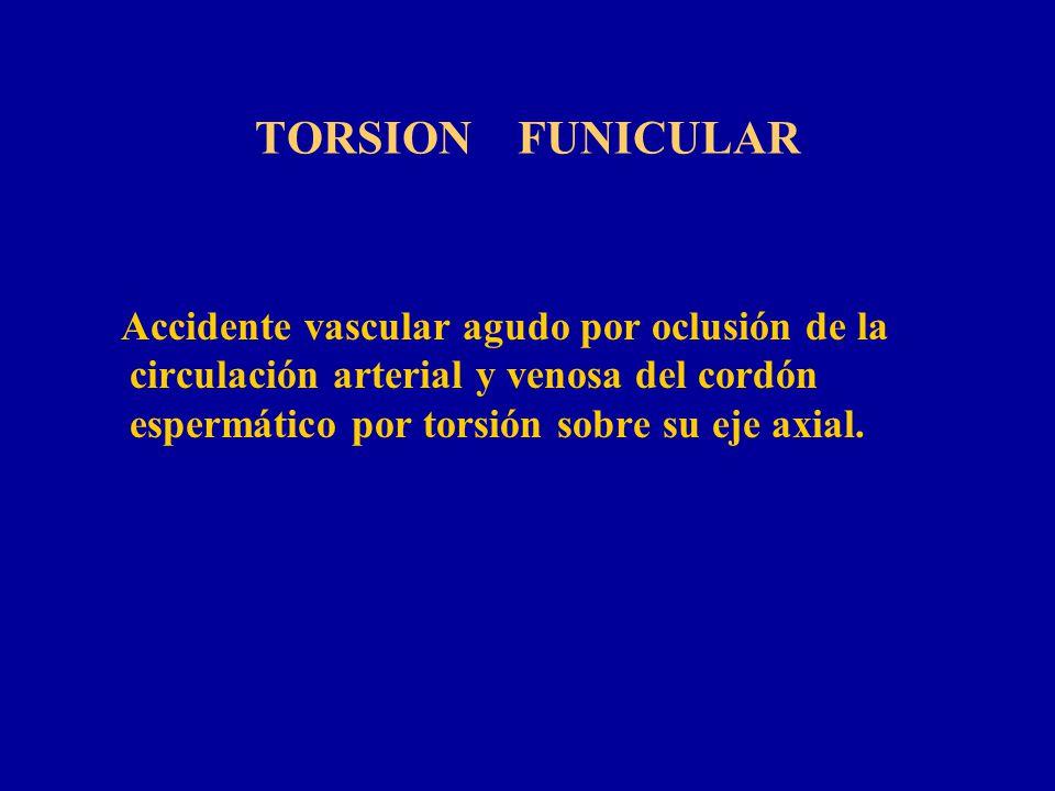 TORSION FUNICULAR Accidente vascular agudo por oclusión de la circulación arterial y venosa del cordón espermático por torsión sobre su eje axial.