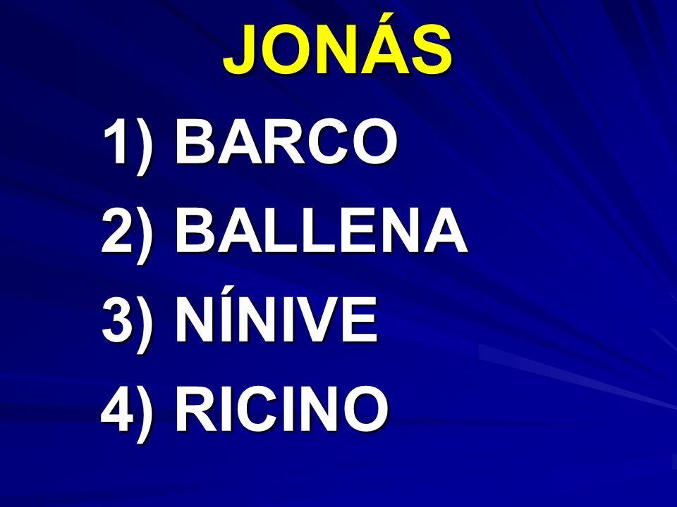 JONÁS 1) BARCO 2) BALLENA 3) NÍNIVE 4) RICINO