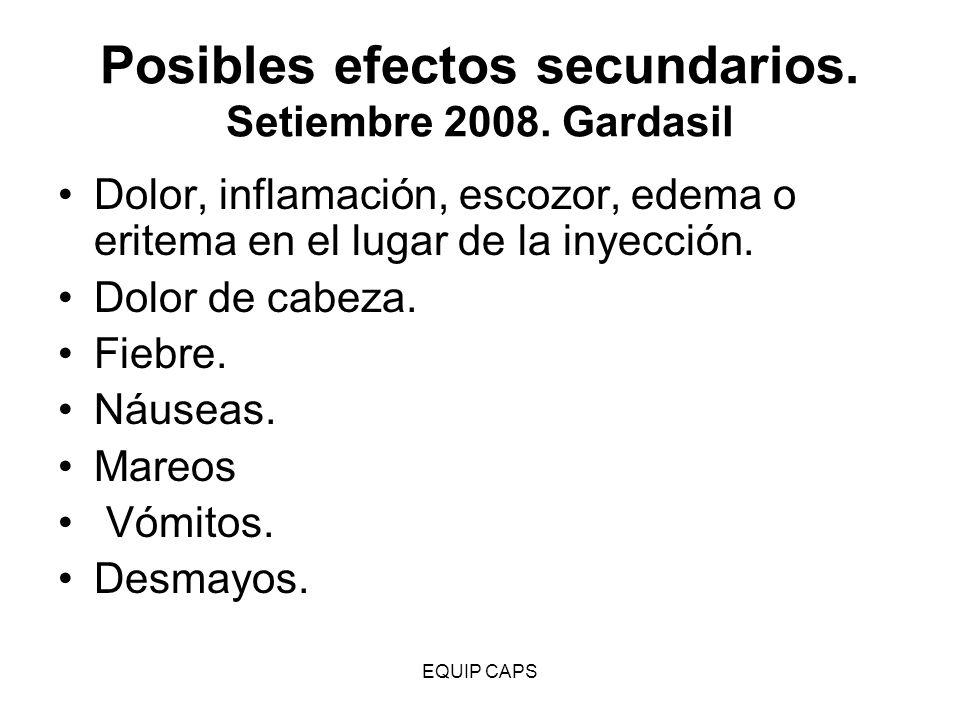 Posibles efectos secundarios. Setiembre 2008. Gardasil
