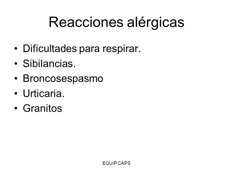 Reacciones alérgicas Dificultades para respirar. Sibilancias.