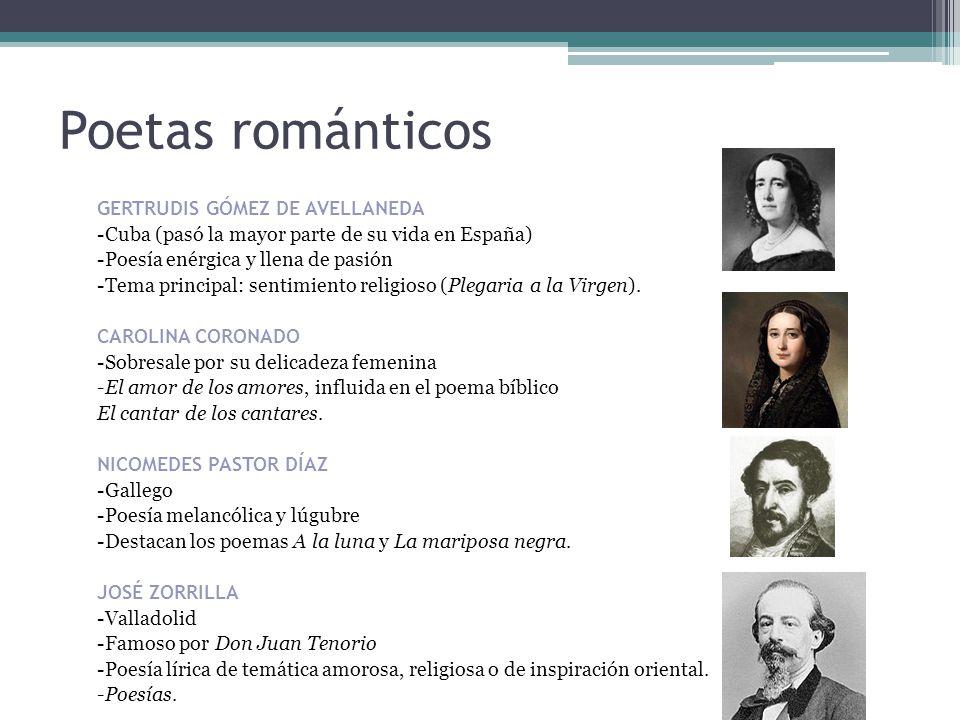 Poetas románticos -Cuba (pasó la mayor parte de su vida en España)