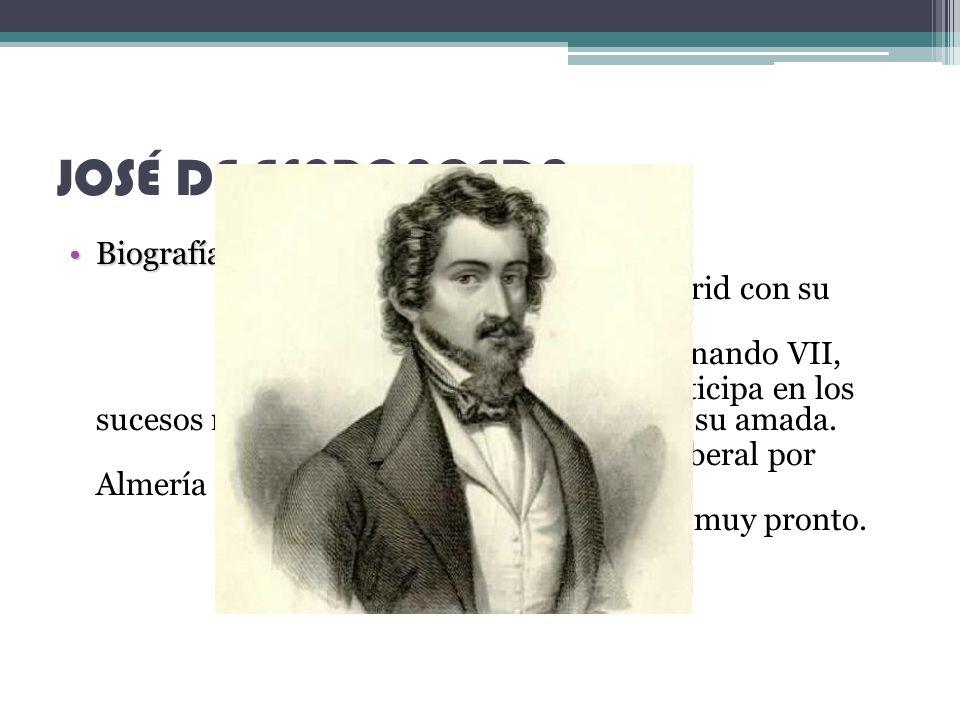 JOSÉ DE ESPRONCEDA Biografía -Badajoz (1808-1842)