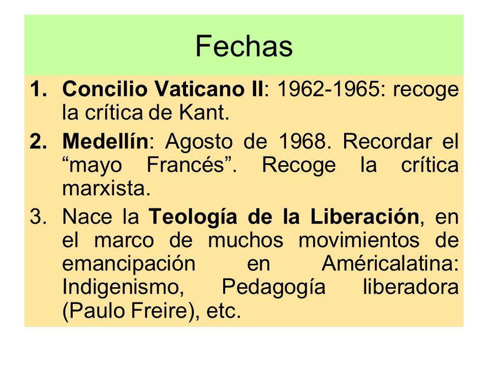 Fechas Concilio Vaticano II: 1962-1965: recoge la crítica de Kant.