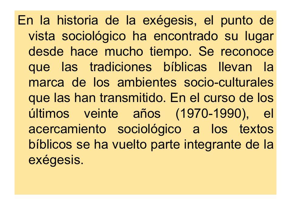 En la historia de la exégesis, el punto de vista sociológico ha encontrado su lugar desde hace mucho tiempo.
